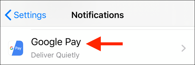 Choose an app from Notifications