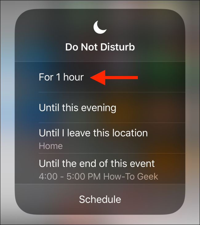 Choose the Do Not Disturb timing from the popup