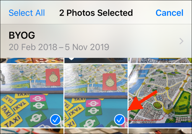 Choose the photos you want to send to Files app
