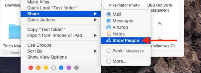 Click on Show People from context menu