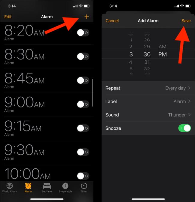Create a new alarm