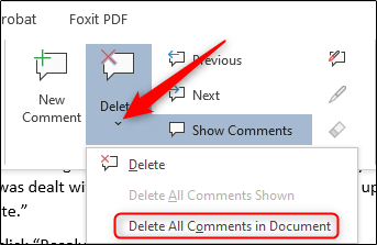 Delete all comments in document