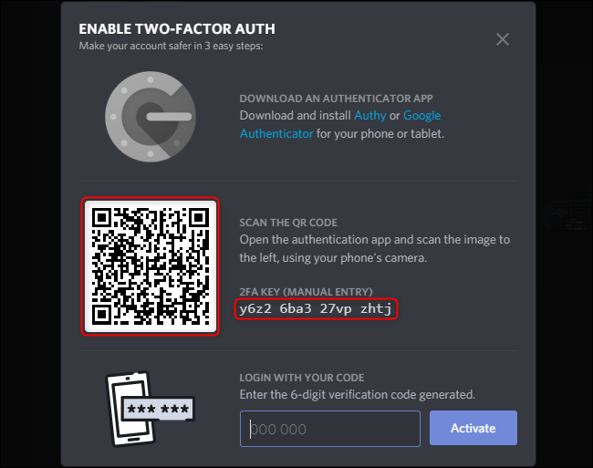 Discord Enable 2FA Code