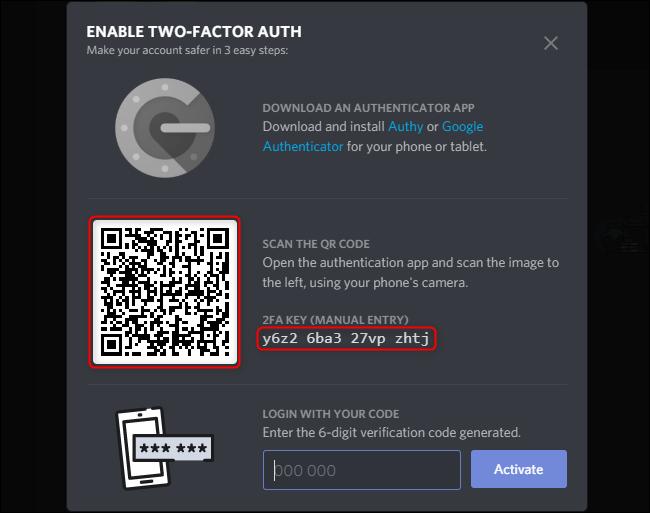 Discord Enable 2FA Code