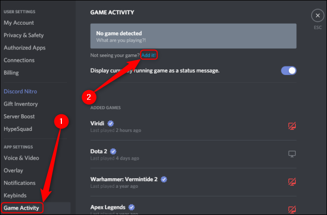 Discord Game Activity Add a Game
