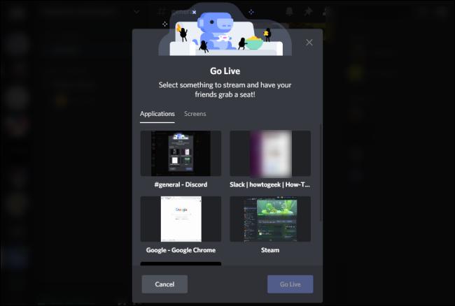 Discord Go Live Screen Select