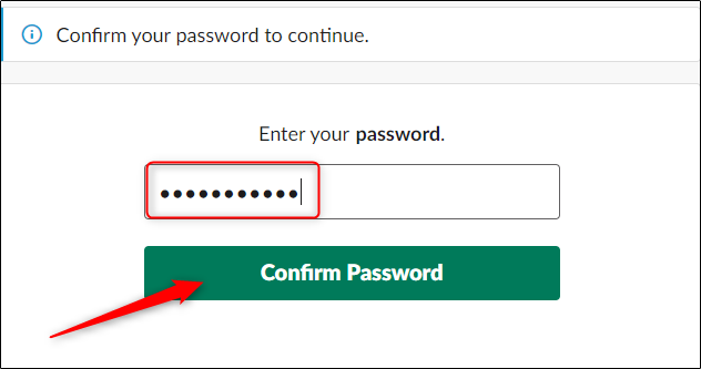 Enter and confirm password