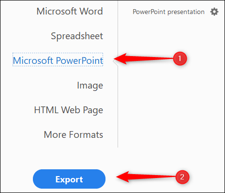 Export as Microsoft PowerPoint