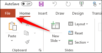 File tab for Windows Office