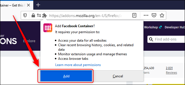 Firefox Add Facebook Container