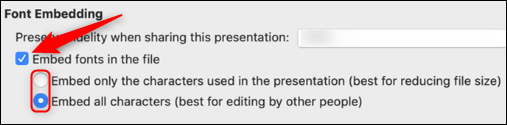 Font embedding options for Mac