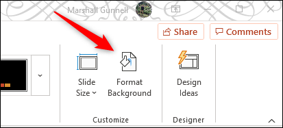Format background option in customize group