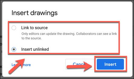 Elija sus opciones de fuente de dibujo, luego presione Insertar para agregarlo a su documento