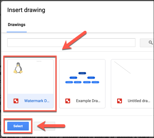 Select your saved Google Drawings image and click Select to add it to your Google Docs document