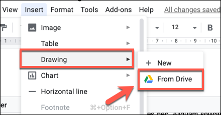 Press Insert > Drawing > From Drive to add a Google Drawings drawing to your Google Docs document