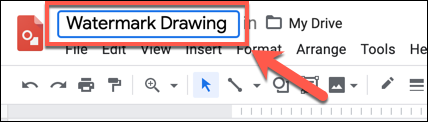 """Add a name to your drawing in the """"Untitled Drawings"""" box in the top-left of Google Drawings"""