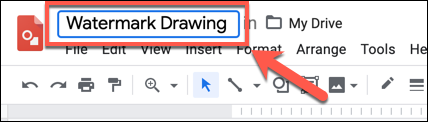 "Add a name to your drawing in the ""Untitled Drawings"" box in the top-left of Google Drawings"