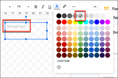 Sample text with a lighter text color applied in Google Drawings
