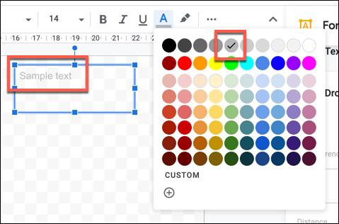 Texto de muestra con un color de texto más claro aplicado en Dibujos de Google