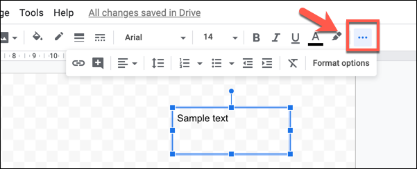 """Press the three-dotted """"More"""" button to view all of your text formatting options in Google drawings"""