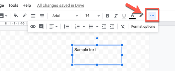 "Press the three-dotted ""More"" button to view all of your text formatting options in Google drawings"