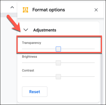 Change the transparency level using the slider in the Format Options > Adjustments tab in Google Drawings