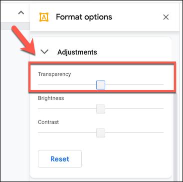 Cambie el nivel de transparencia usando el control deslizante en Opciones de formato> pestaña Ajustes en Dibujos de Google
