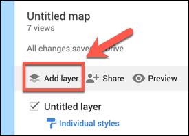Press Add Layer to add a custom layer to a custom Google Maps map