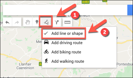 Press Draw a Line > Add Line or Shape to begin adding a line or shape to your custom Google Maps map
