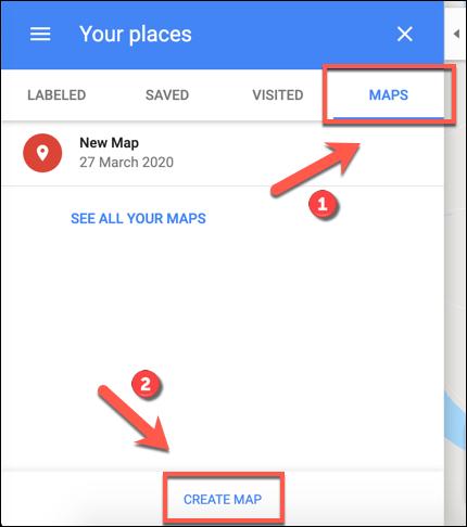 Click Create Map to begin creating a custom Google Maps map