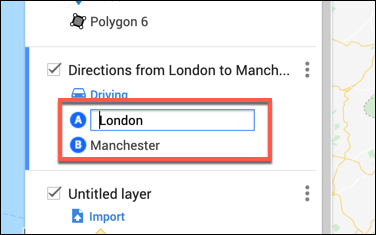 Type departure and arrival locations in the custom directions layer in the Google Maps map editor