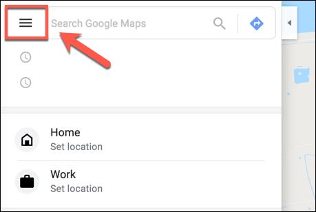 Click the Hamburger Menu Icon in Google Maps