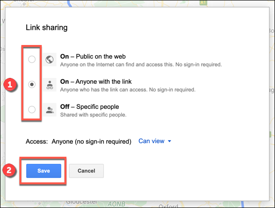 The link sharing options for a custom Google Maps map