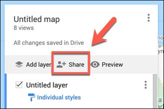 Press Share to share your custom Google Maps map