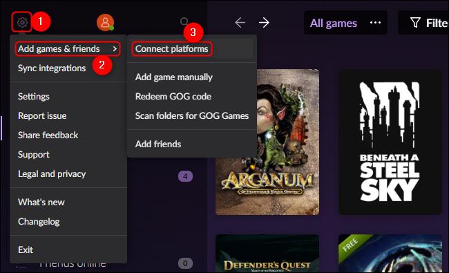 GOG Galaxy Connect Platforms