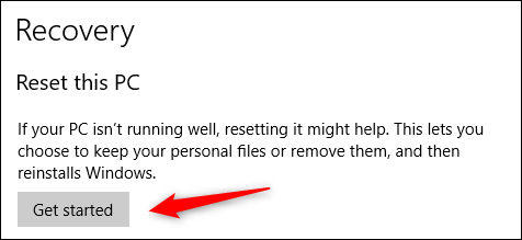 Get started resetting Windows 10