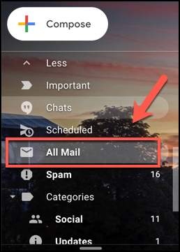 Press the All Mail tab in Gmail to view all emails, including archived emails