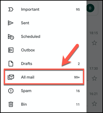 Click the hamburger menu, then press the All Mail tab in the Gmail app