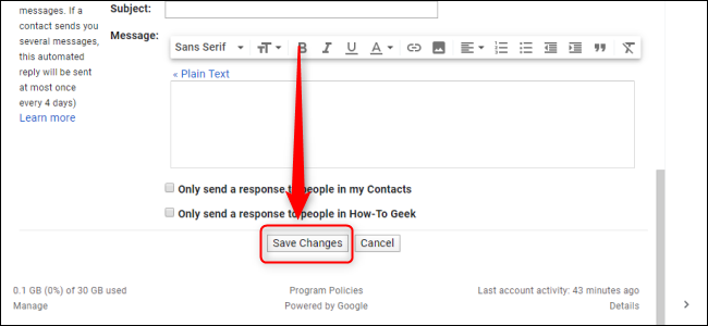 Gmail Settings Save Changes