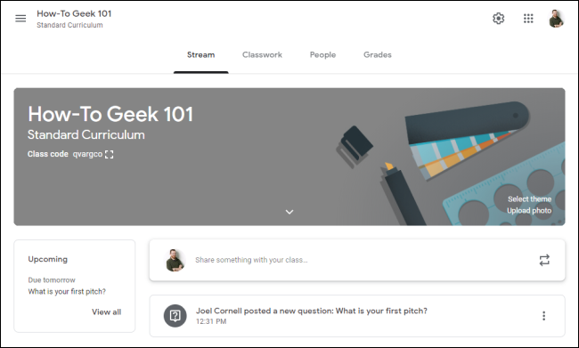 Google Classroom Interface
