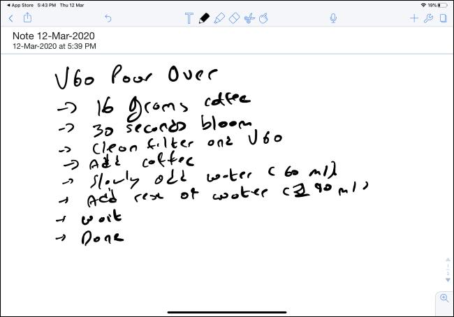 Handwritten note in Notability