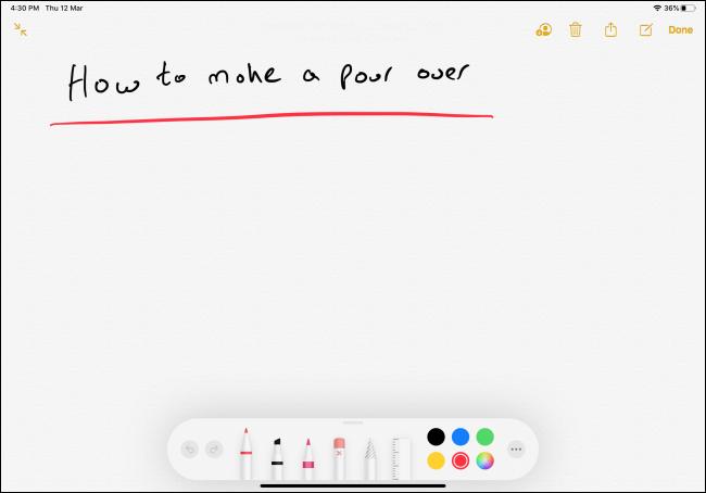 Handwritten note in Notes app on ipad
