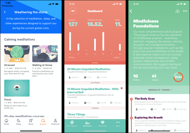 The Headspace and Smiling Mind apps on a smartphone.