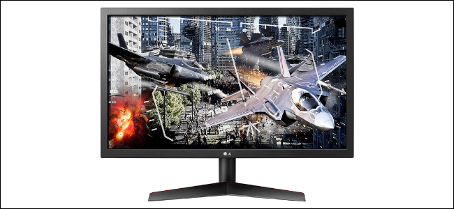 The LG UltraGear 24GL600F-B Gaming Monitor with video-game planes on the screen.