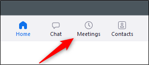 Meetings tab in Zoom