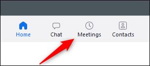 Meetings tab in Zoom