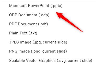 Microsoft PowerPoint conversion option