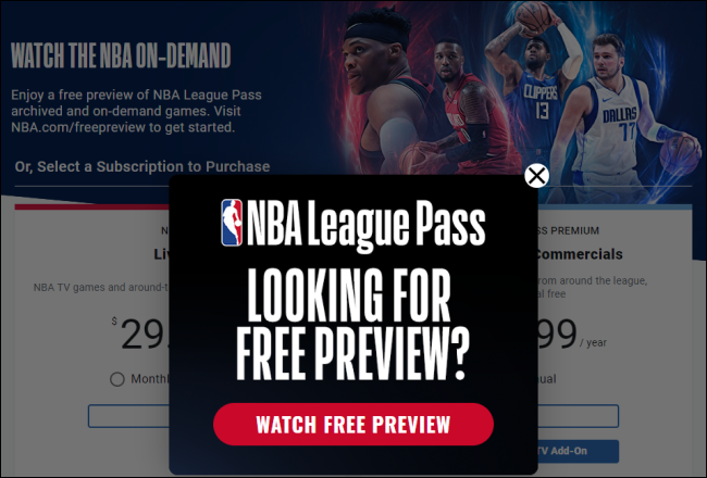 The NBA League Pass Free Preview page.