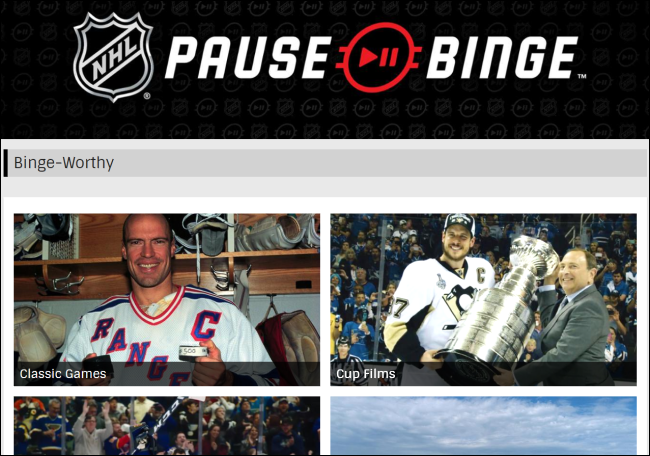 The NHL Pause Binge website.