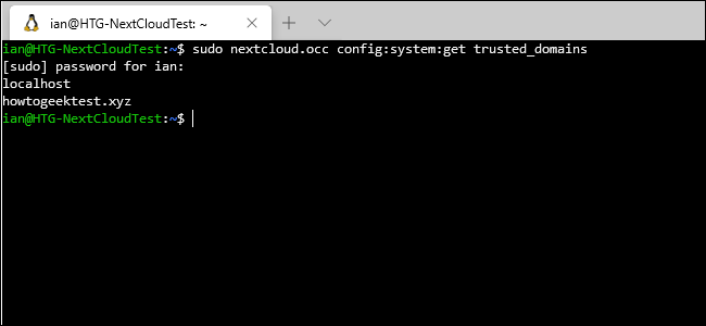 "The ""sudo nextcloud.occ config:system:get trusted_domains"" command in a terminal window."